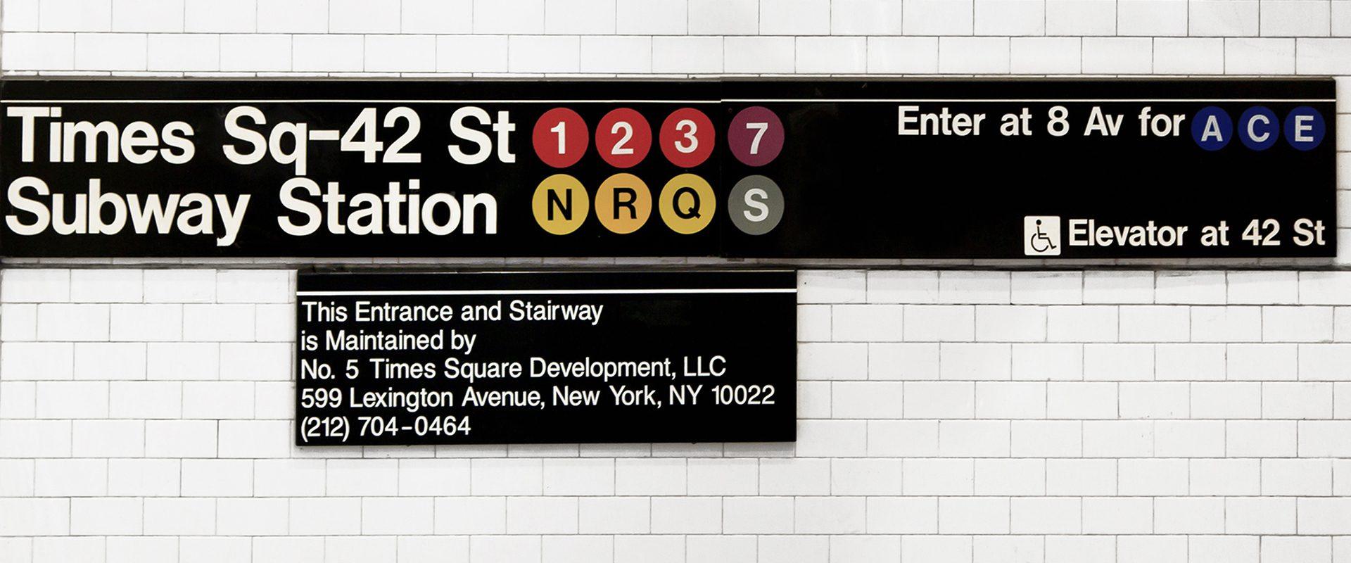 Señal de metro Times Square, Nueva York
